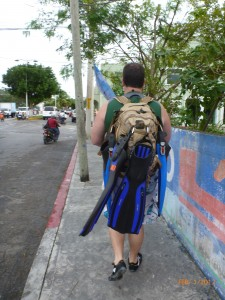 Walking in Cozumel. If it doesn't fit in our Camelbaks we don't really need it anyway.
