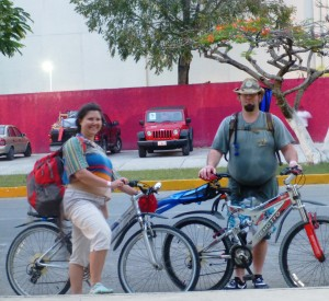 Jason and I biking around Cozumel.