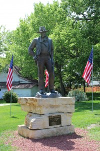 Bronze statue of John Wayne donated by his family.