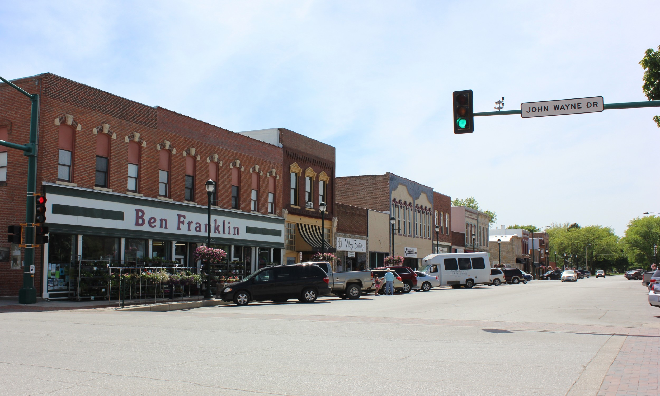 John Wayne Drive on the Winterset town square.