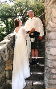 Our wedding day. I loved the kilt!