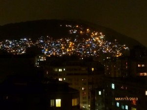 The view from the roof at night. The dense lights are the favelas, just a few blocks away from the hotel zone.