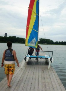 Getting our adorable Hobie Wave ready to sail.
