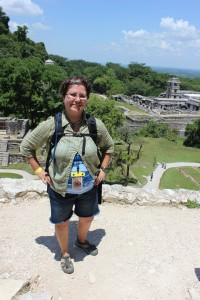 On top of the Temple of the Sun at the Palenque Ruins.