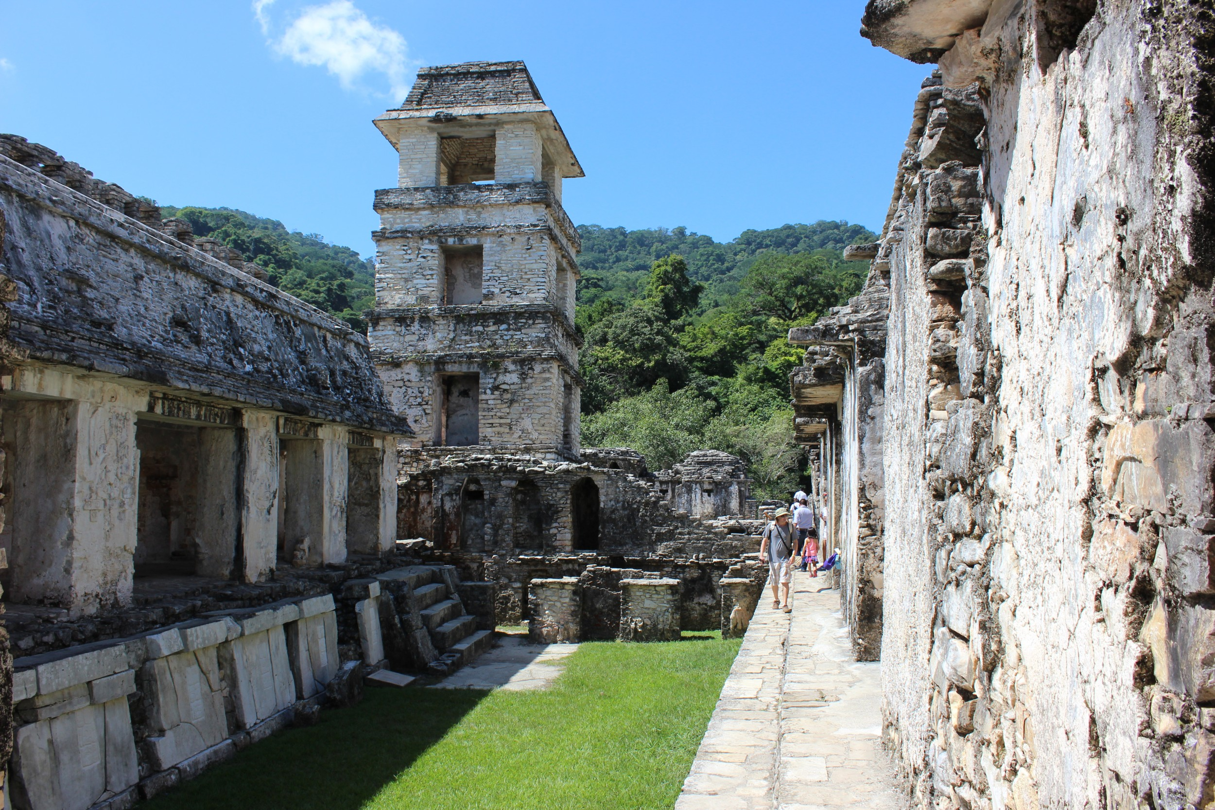 Running around, in and through the ruins of Palenque.