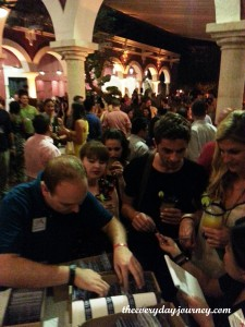 Bloggers getting registered at the Xcaret margarita reception. Are you in this picture?