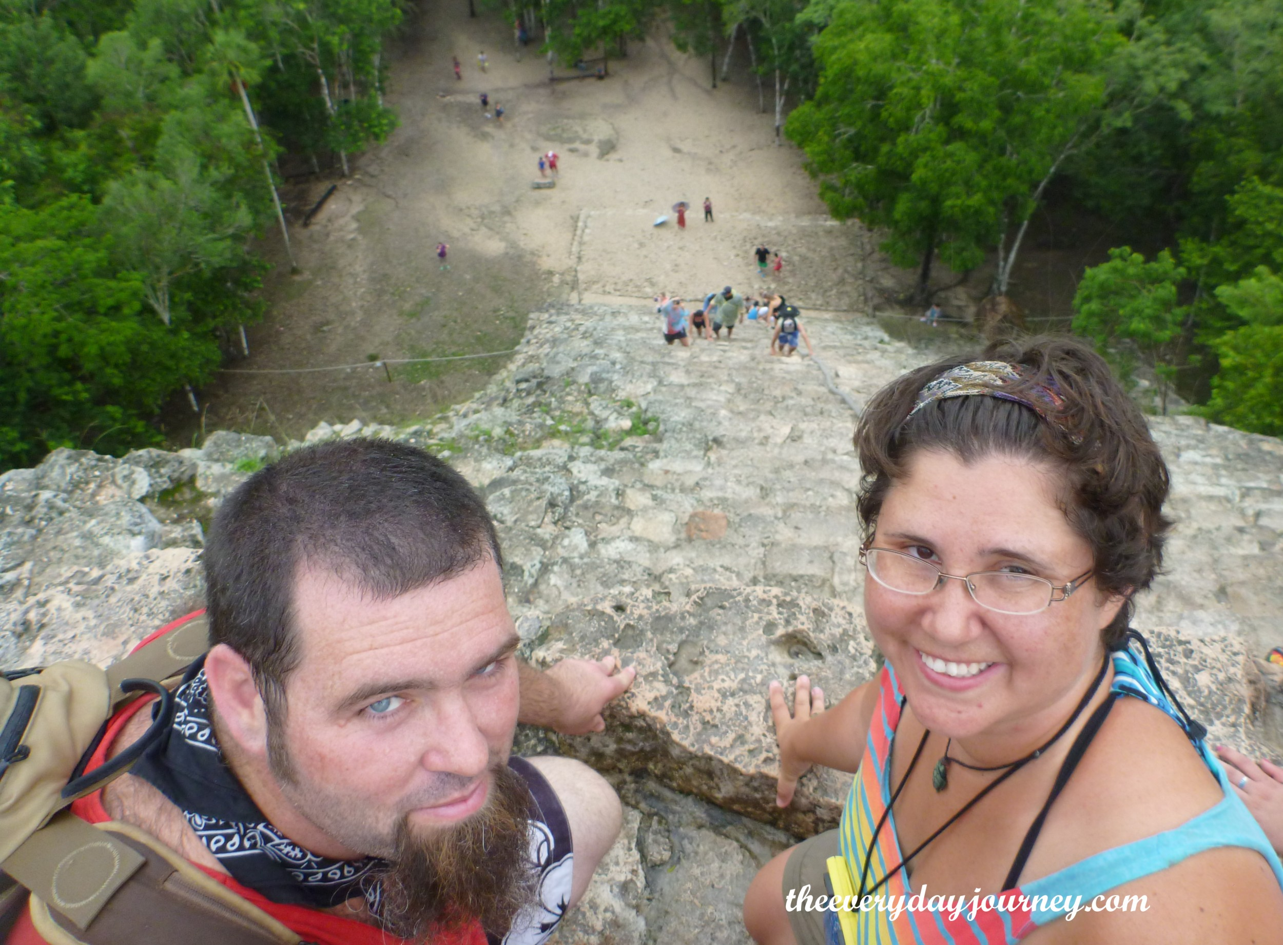 On top of Coba's 130-ft pyramid Nohuch Mul.
