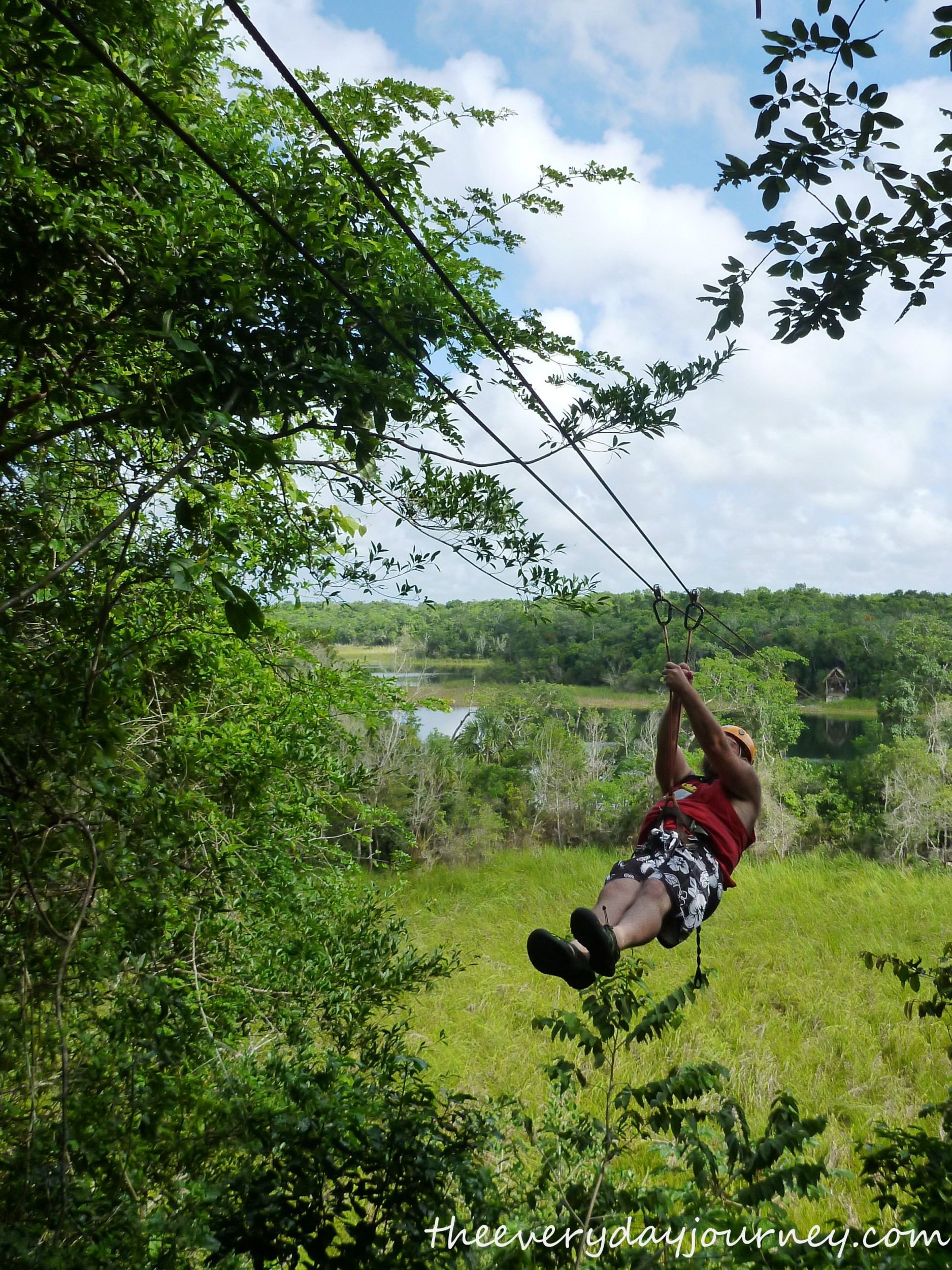 Jason was first in line for zip-lining-he has no fear!
