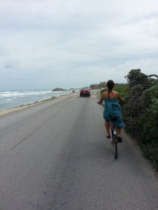 Following my friend Tine down a road in Tulum.